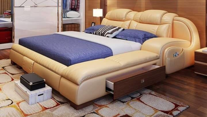 Leather bed-Comfy King Size .